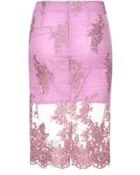 True Decadence | Pink Lace Organza Pencil Skirt | Lyst