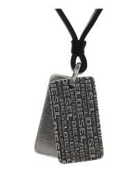 DIESEL | Black Adella Logo Necklace for Men | Lyst