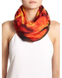 Givenchy | Orange Flames Print Cotton Scarf | Lyst