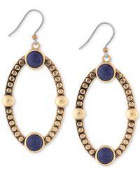 Lucky Brand | Metallic Gold-tone Lapis Oval Drop Earrings | Lyst