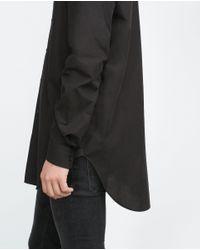 Zara   Black Poplin Shirt for Men   Lyst
