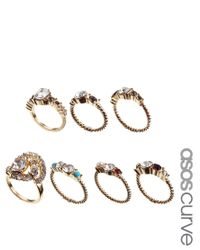 ASOS - Metallic Vintage Style Pearl Stone Ring Pack - Lyst