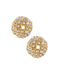R.j. Graziano | Metallic Golden Crystal Knot Stud Earrings | Lyst