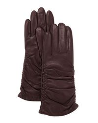 Grandoe | Brown Pris Ruched Leather Gloves Plum | Lyst