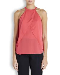 A.L.C. - Pink Iggy Coral Layered Silk Crepe Top - Lyst
