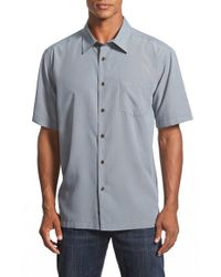 Quiksilver - Gray Waterman Collection 'cane Island' Regular Fit Short Sleeve Sport Shirt for Men - Lyst