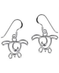 Aeravida   Metallic Cut Out Sea Turtle Tales .925 Sterling Silver Earrings   Lyst