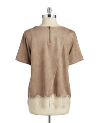 Lord & Taylor | Brown Faux Suede And Lace Top | Lyst