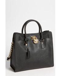 MICHAEL Michael Kors | Black 'large Hamilton' Saffiano Leather Tote | Lyst