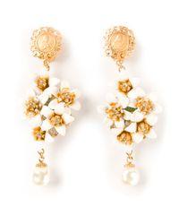 Dolce & Gabbana | Metallic Dropped Floral Earrings | Lyst