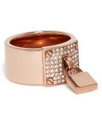 Michael Kors - Metallic Pave Plaque Ring With Padlock Charm - Lyst