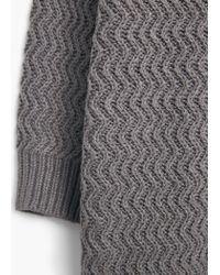 Mango | Gray Textured Cotton Cardigan | Lyst