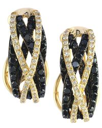 Effy Collection | Caviar By Effy Black (3/4 Ct. T.w.) And White (1/4 Ct. T.w.) Diamond Crossover Earrings In 14k Gold | Lyst