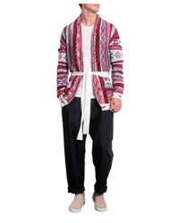Laneus - White Cotton Jacquard Cardigan With Belt for Men - Lyst
