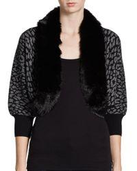 Autumn Cashmere | Black Leopardprint Faux Fur Shrug | Lyst