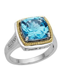 Lord & Taylor | Sterling Silver And 14 Kt. Yellow Gold Blue Topaz Ring With Diamonds | Lyst