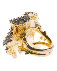 Alexander McQueen | Metallic Embellished Floral Cocktail Ring | Lyst