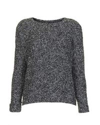 TOPSHOP - Gray Boucle Slouchy Jumper - Lyst