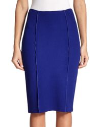 St. John - Blue Milano Knit Pencil Skirt - Lyst