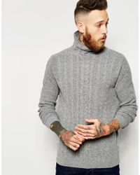 ASOS - Gray Lambswool Rich Cable Knit Sweater With Turtleneck for Men - Lyst