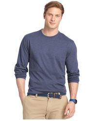 Izod | Blue Big And Tall Double Crew-neck Long-sleeve T-shirt for Men | Lyst
