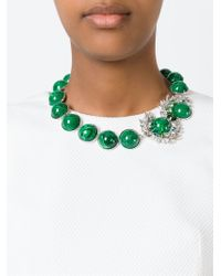 Shourouk | Green Silver-tone Paillette And Crystal Necklace | Lyst
