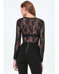 Bebe - Black Sheer Lace V-neck Bodysuit - Lyst