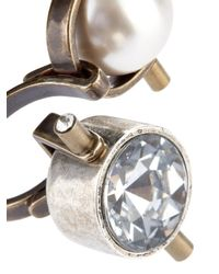 Lanvin - Metallic Crystal And Faux-Pearl Ring - Lyst