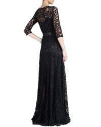 Teri Jon | Black Sequin Mesh Mermaid Gown  | Lyst
