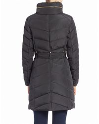 Cole Haan | Black Faux Fur-collared Belted Coat | Lyst