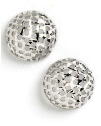 Lord & Taylor | White Sterling Silver Textured Button Stud Earrings | Lyst