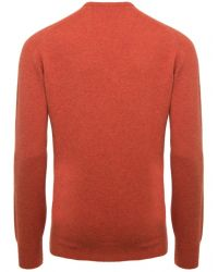 Jules B - Orange Crew Neck Lambswool Sweater for Men - Lyst