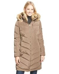 Calvin Klein | Brown Down & Feather Fill Coat With Faux Fur Trim | Lyst