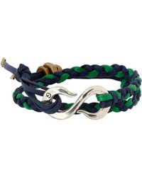 Giles & Brother - Blue Braided Leather Bracelet With Hook Clasp for Men - Lyst