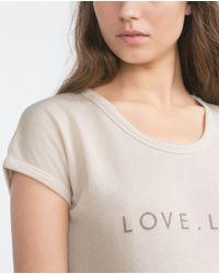 Zara | Natural Long Printed T-shirt | Lyst