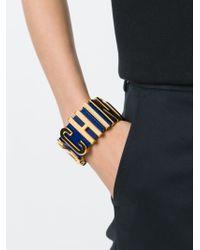 Moschino - Blue Logo Plaque Bracelet - Lyst
