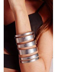 Missguided - Metallic Cut Out Cuff Silver - Lyst