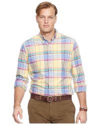 Polo Ralph Lauren | Yellow Big And Tall Plaid Oxford Shirt for Men | Lyst