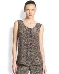 Akris Punto | Black Studded Silk Stadium Print Top | Lyst