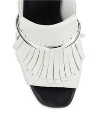 424 Fifth | White Candis Leather Fringe Accented Open Toe Mules | Lyst