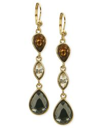 T Tahari | Metallic Gold-tone Mixed Jewels Drop Earrings | Lyst
