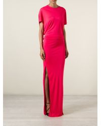 MSGM - Red Draped Open-Back Dress - Lyst