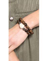 Hipchik Couture | Wooden Buddha Bracelet Set Brown | Lyst