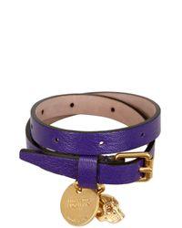 Alexander McQueen - Purple Skull Charm Leather Bracelet - Lyst