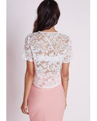 Missguided | Baroque Organza Lace Shell Top White | Lyst