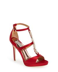 Badgley Mischka | Red 'Pilar' T-Strap Pump | Lyst