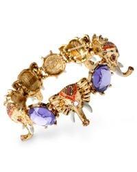Betsey Johnson   Metallic Gold-Tone Elephant Stretch Bracelet   Lyst