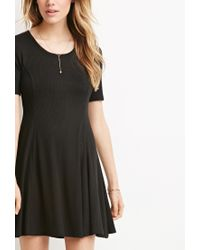 Forever 21 | Black Ribbed Skater Dress | Lyst