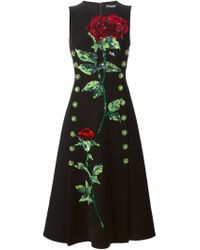 Dolce & Gabbana - Black Sequins Embroidered Rose Dress - Lyst