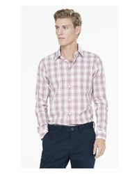 Express - Red Extra Slim Plaid Dress Shirt for Men - Lyst